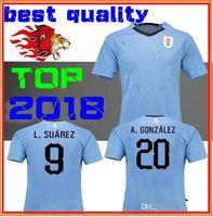 Wholesale Quality Men S Silk Shirts - URUGUAY soccer jersey World Cup 2018 SUAREZ Soccer Jerseys D.GODIN E.CAVANI top quality URUGUAY home Blue football shirt Free Shipping