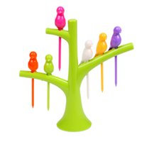 Gros-HOT 2,015 New Vaisselle Vaisselle Sets Creative Arbre + Oiseaux Plastique Design Fruit Forks 1 Stand + 6 fourchettes de Vente Hot Fruit Fork