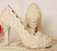 Luxurious Ivory Formal Dress Shoes Belle dentelle Flower Nuptiale Party Party Party Plateformes Plus Size 34-43 Prom Party Pompes