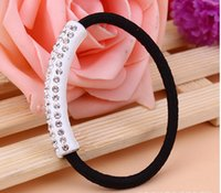 Wholesale Fashion Rubber Crystal Bracelets - Fashion New Hair Rope Crystal hair Rope Bracelets Hair Rubber Bands Ponytail Tie Free Shipping Wholesale
