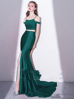 Wholesale Lady Like Sexy Evening Dress - 2018 Newest Two Pieces Satin Mermaid Evening Gowns Spaghetti Straps Girls Ladies Party Formal Wear Cheap Gown
