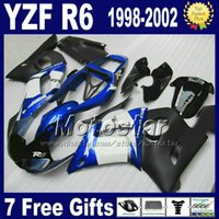 Wholesale 99 Yamaha R6 Fairings Black - bodywork fairings for YAMAHA YZF-R6 1998-2002 YZF R6 98 99 00 01 02 blue black white fairing body kits VB98 + 7 gifts