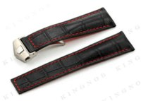 Wholesale Deployment Black Leather Strap - KINGNOB 22mm Strap Black Alligtor Grain Calf Leather Watch Band Red Stitch Steel Deployment Buckle Clasp Watchband for TAG Hours