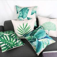 Wholesale Banana Cushion - green leaf leaves cushion cover decorative banana leaf almofada monstera funda cojin cojines modern home decor
