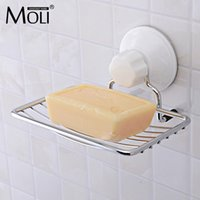 Wholesale soap holder suction cups - Suction Cup Wall Mounted Soap Dish Stainless Steel Soap Basket Sucker Shower Soap Holder Bathroom Accessories