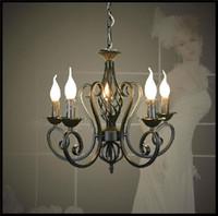 led mum kolye lambası toptan satış-Cilalar Ferforje Avize E14 Mum Işığı Siyah endüstriyel ev armatür lav lambaları yaratıcı hediye olarak lu cilası kolye ışıkları modern