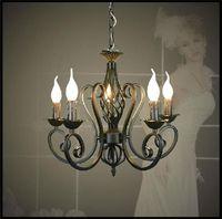 ingrosso ciondoli a lampadario in ferro nero-Lustres Lampadario in ferro battuto E14 Candle Light Nero industriale lampade di lava come un regalo creativo lu lustre lampade a sospensione moderna