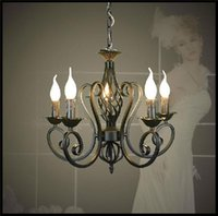Wholesale Vintage Lustres - Lustres Wrought Iron Chandelier E14 Candle Light Black industrial home luminaire lava lamps as creative gift lu lustre pendant lights modern