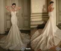 Wholesale Cathedral Train Taffeta Wedding Dress - Berta 2016 Backless Lace Wedding Dresses Spaghetti Beaded Taffeta Court Train Wedding Gowns Sexy Bridal Dresses