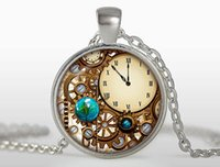 Wholesale Round Clock Necklace - Blue dragon eye glass necklace Mechanical clock round glass dome pendant necklaces charms bell movement Necklaces Jewelry N333