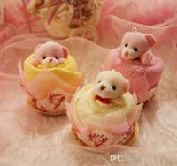 oso de peluche de toalla al por mayor-Nueva Lovely Teddy Bear Toalla de la torta 30 * 30 cm mini toalla Boda Navidad Valentines regalos de cumpleaños Baby shower favorece recuerdos del regalo