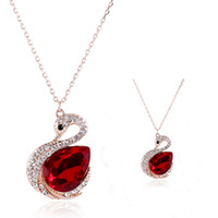 Wholesale Purple Crystal Swan Necklace - Ruby Necklace Hot Sale Sparkle Swarovski Crystal Element Swan Shaped Wedding Jewelry Fashion Womens Necklace New Arrival