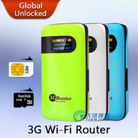 tarjeta del sim del ranurador del módem sin hilos al por mayor-Dispositivo móvil Portátil Pocket Mini Wi-Fi Modem Support WCDMA HSPA Desbloquear Hotspot Wireless MiFi 3G WiFi Router con ranura para tarjeta SIM