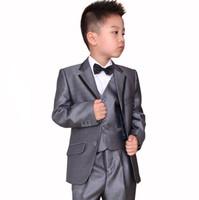 Wholesale Little Boys Pinstripe - Children suit men's cultivate one's morality boy wedding flower girl dress costumes three-piece little 3 (jacket + vest + pants) custom made