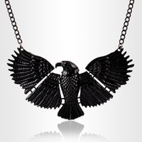 Wholesale Eagle Collar Necklace - Fashion Animal Exaggerated Black Lacquered Eagle Pendants Statement Collar Choker Necklace Fine Jewellery Women Accessories PT34