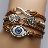 ingrosso fascini dell'occhio del gufo-amicizia infinito Bracciali Gufi Occhio malvagio Sideways Charm Infinity Wristband girls regalo di natale può raccogliere colore