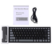 Teclado de Bluetooth-Teclado de 85 claves Bluetooth impermeable plegable USB Teclados de silicona flexible para ordenador portátil portátil Tablet PC Phone