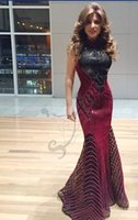 Wholesale Evening Gowns Tulle Fabric - 2015 New Red Pearls Black Sequins Fabric Prom Dresses Evening Formal Gowns With Scoop Beaded Crystal Sequins Sheer Neckline Tulle Long