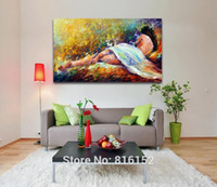 Wholesale Girl Knives - Abstract Canvas Oil Painting Handpainted Palette Knife Painting Sext Nude Girl Sleeping Canvas Wall Art Paicture for Living Room Home Decor