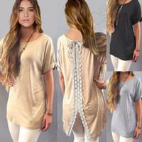 blusas de renda venda por atacado-Camisas das senhoras T Blusa Casual T-Shirt Tops Tees Roupas Femininas Boho Womens Lace Casual manga curta Long Tops Blusa T-shirt Mini Vestido