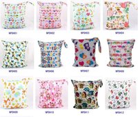 Wholesale free infant diapers - DHL Free NEW 32 style baby printed Wet Dry zipper diaper bag Infant Leopad Pockets Diapers Nappy Bags Reusable Cloth Diaper Wet Bag