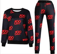 Wholesale Women Jogger Pants Shorts - new men women's sport vsuits print emoji 100 fashion tracksuits sweat shirt + pants 2 pcs clothing set joggers free shipping