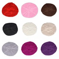 Wholesale red rounded hat online - Braided Crochet Knitting Hat Round Skull Beanie Multi Colors For Women Wool Beret Red Purple Black bd B