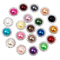 diamantes sueltos pedrería al por mayor-Nueva 20 colores 15mm Flat Back Crystal Pearl Buttons Metal Rhinestone Crystal Loose Diamonds Silver Flowewr Buttons Joyería DIYl