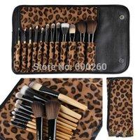 Wholesale Leopard Makeup Kit - New Professional Makeup kits 12 PCs Brush Cosmetic Facial Make Up Set Tools With Leopard Bag Makeup Brush Tools