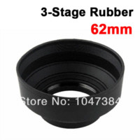 Wholesale Rubber Lens Hoods - 62mm 62 mm 3-in-1 3in1 3-Stage Position Rubber Collapsible Lens Hood for Canon Nikon Pentax Free Shipping