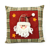 Wholesale Red Bolster Pillow - Cotton Christmas Bolster Santa Claus Reindeer Snowman 3D Pattern Pillow Cushions Soft & Warm Xmas Decoration Home Ornament party decora