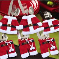 ingrosso coltelli-For Christmas Decor Prop Handmade Santa Mini Clothes Pants Shaped Christmas Cutlery Suit Silverware Holder Coltelli e forchette Tasche 110030