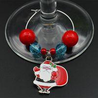 Wholesale Wineglass Charm Rings - 32pcs lot Santa Claus Charm Ring Wineglass Chain With Beads Wedding Party Banquet Table Goblet Ornament wj022