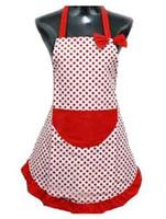 bolsillos delantales al por mayor-Fashion Hot Delicate Cute BowKnot Kitchen Restaurant Delantales de cocina con bolsillo para mujeres