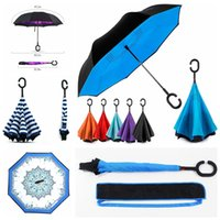 Wholesale Fold Cars - 39 Colors Windproof Reverse Folding Double Layer Inverted Umbrellas With Bags Self Stand Inside Out C Handle Umbrella For Car KDU001-039