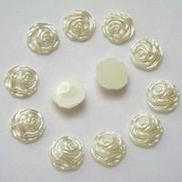 Wholesale Pearl Rose Flatback - 200PCS 12mm Rose Flower Pearl Flatback Resin Rhinestone Beads ZZ88