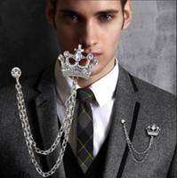perno corona vintage al por mayor-Hombre al por mayor broches de la manera joyería brillante del Rhinestone de la vendimia Cristal Diamante Corona pernos boda de los hombres smokinges Broche