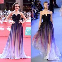 Wholesale Strapless Ombre - Lily Collins Elie Saab Ombre Pleats Celebrity Dresses Strapless Low Cut Back Sweep Train Chiffon Red Carpet Evening Gowns Prom Dress