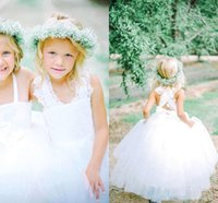 Wholesale Cute Kinds - Two Kinds Ball Gown Tulle Flower Girl Dresses Strapless Feathery Ruffles 2015 Floor Length Girls Pageant Dresses Cute 2016 Floor Length