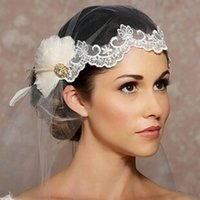 Wholesale Cheap Wedding Feather Hair Accessories - New Style Elegant One Layer Lace Tulle Wedding Bridal Veil With Feather Crystal Charming Bridal Wedding Hair Accessories Face Veil Cheap