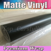 Wholesale 3m Vinyl Rolls - Matte Black Satin Vinyl Car Wrap Film With Air release Matt Black Vinyl For Vehicle Wrapping Covering like 3M 1.52x30m Roll (5ftx98ft)