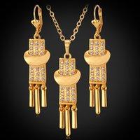 conjunto de colar de ouro jóias venda por atacado-18k banhado a ouro encantos colar de pingente de brincos conjunto de jóias de strass nova gota dangle jóias vintage para as mulheres ys3089