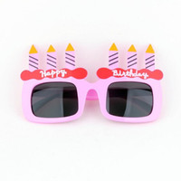 ingrosso occhiali per candele-Cute Birthday Candle Glasses Bambini Bambini Cake Sunglasses Eyewear Happy Birthday Party Favors Forniture