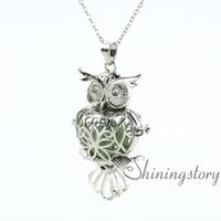 Wholesale Necklace Pendant Lava - owl heart openwork diffuser necklace diffuser necklaces wholesale perfume necklace perfume pendant lava volcanic stone metal