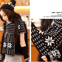 Wholesale Hats Wholes Sales - Wholesale-Fashion Women Long Scarf Shawl + Ski Hat +Knitted Fingerless Gloves Ladies Snow Pattern Winter Warm Thick Chirstmas Whole Sale