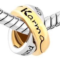 paare armbänder ringe großhandel-Metall Slider Spacer Großes Loch Paare Ring Wörter Lkarma Around Kommt Ring European Bead Fit Pandora Chamilia Biagi Charm Armband