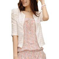 Wholesale Women S Short Coats - S-XXL High Quality 2015 New Spring Autumn Women Jacket Coat Half Sleeve Short Design Thin Slim Zipper Outwear casaco feminino