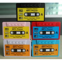 Wholesale Sd Tape Player - Retro Tape Cassette MP3 Player support Micro TF SD Card Slot with USB Charging Cable 3.5mm Jack Earphone Gift box mp3 players