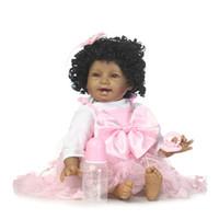 Wholesale Skin Birthday Gift - Wholesale- Black Skin reborn baby doll newborn Bebe Alive Bonecas gifts for Girls Birthday Christmas Gift reborn dolls realistic soft