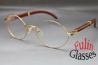 tailles d'alliage achat en gros de-Grossiste-HOT Bois 7550178 Bois Lunettes de Vue Designer Unisexe Alloy Glasses Taille: 57-22-135 mm